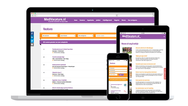 MediVacature responsive website